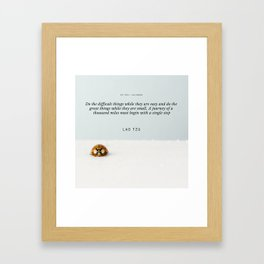 Lao Tzu Quote | A journey of a thousand miles must begin with a single step Framed Art Print
