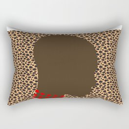 Zollione shop Bald black african model with red bead necklace animal print design Rectangular Pillow