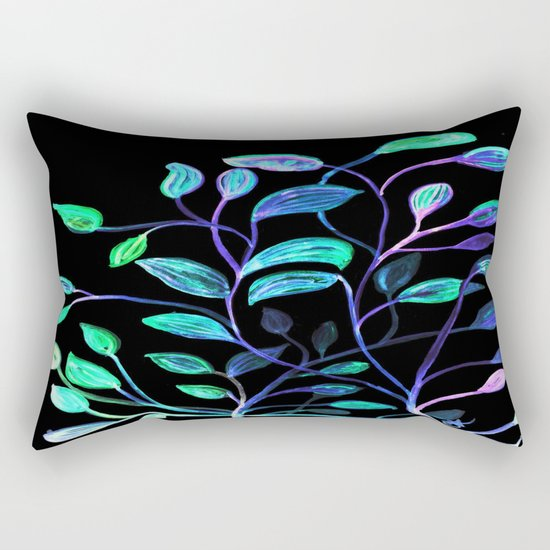 Do Not Go Into The Night, Red and Green Leaves Rectangular Pillow