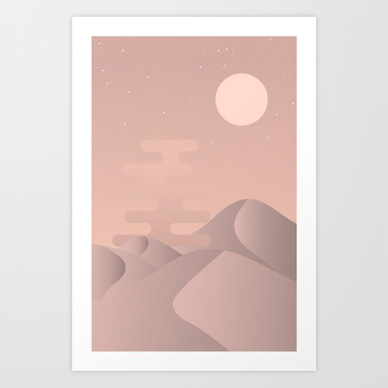 Rose gold desert Art Print