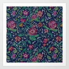 Pixel Flowers Art Print
