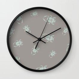Muted green grey scarab Wall Clock
