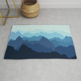 Mountains in Blue Fog Rug