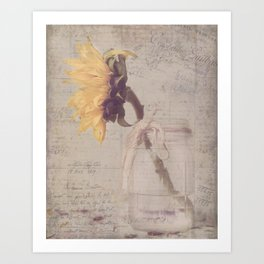 Sunflower with French Brocante Art Print