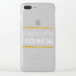WILL DEPLOY HOTFIXES FOR FOOD AND SHELTER Clear iPhone Case