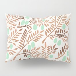 Olive Branches – Rose Gold & Mint Pillow Sham