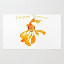 Happy Nowruz Persian New Year Goldfish Isolated Rug