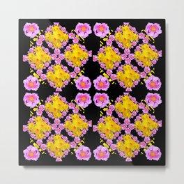Black Roce & Yellow Color Pattern Floral Metal Print