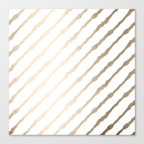Simply Diagonal Stripes in White Gold Sands on White Canvas Print