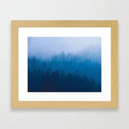 Blue Mountain Pine Trees Blue Ombre Gradient Colorful Landscape photo Framed Art Print