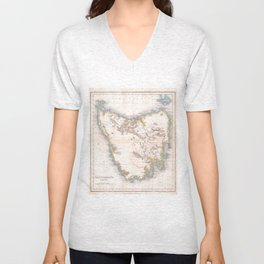 Vintage Map of Tasmania (1837) Unisex V-Neck