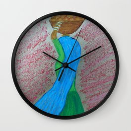 Indian Lady carrying Oranges Wall Clock
