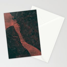 Liverpool Map Red Stationery Cards