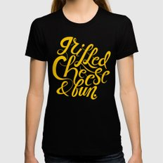 Grilled Cheese & Fun Black MEDIUM Womens Fitted Tee