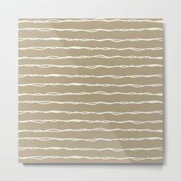 Sketched Messy Lines in Brown Metal Print