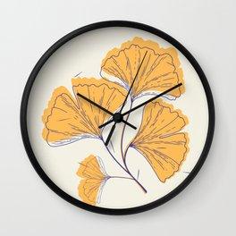 Gold Lotus Leaves Wall Clock