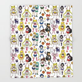 Kawaii Sailor Senshi Doodle Throw Blanket