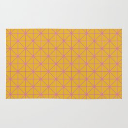 Line Work Geometric Triangle Pattern in Pink and Yellow Rug