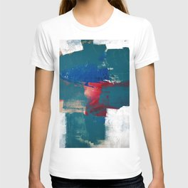 0923: a mixed media piece in teal red and blue by Alyssa Hamilton Art T-shirt