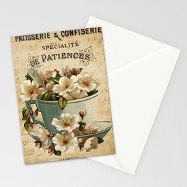 Paris -  French -  Patisserie - Vintage -  Cup -  Flower -  France - Vintage illustration. Retro décor. Stationery Cards