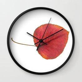 Leaf Art in Red Wall Clock
