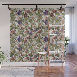 Floral with Watering Can Wall Mural