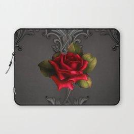 Gothic Glamour Red Rose Black Ornamental Glam Laptop Sleeve
