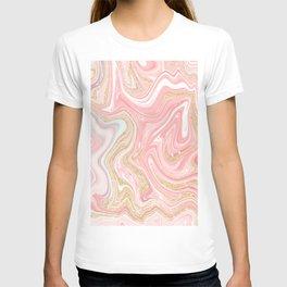 Modern pink coral marble gold glitter pattern T-shirt