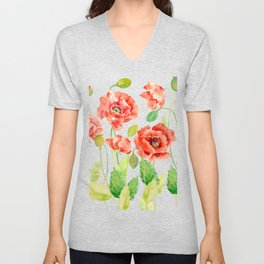 Watercolor Red Oriental Poppies Unisex V-Neck