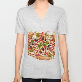 Italian pizza with splashes in watercolor style Unisex V-Neck