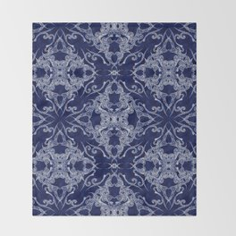 Victorian Era royal blue Throw Blanket
