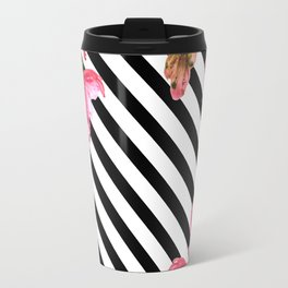 Watercolor Flowers and Lines Pattern Travel Mug