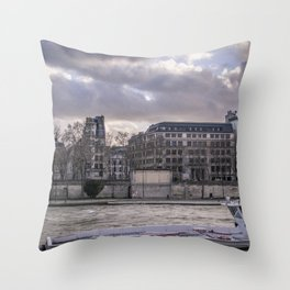 Seine wharf, Paris, France Throw Pillow