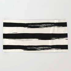 Tribal Paint Stripes Black and Cream Beach Towel