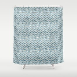 Fish Scales Geometric Pattern in Blue Green Shower Curtain