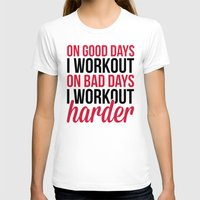 workout T-shirts featuring Workout Harder Gym Quote by EnvyArt
