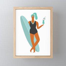 Beach girl Framed Mini Art Print