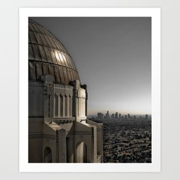 Griffith Park Observatory with Downtown LA Skyline Art Print