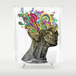 Bright neon pink yellow abstract anatomical skull Shower Curtain