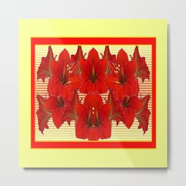 YELLOW CONTEMPORARY CLUSTER RED AMARYLLIS FLOWERS Metal Print