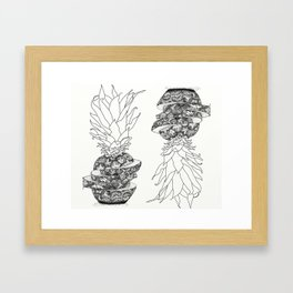 Jordy Likes Pineapples_Mono Framed Art Print