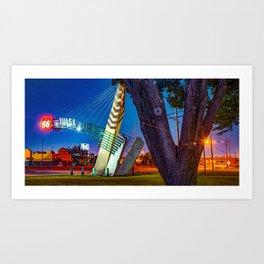 Route 66 Tulsa Oklahoma Western Gateway Arch At Dawn Panorama Art Print