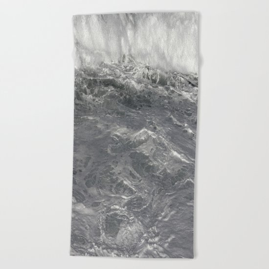 Roiling in Almost Black and White Beach Towel