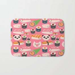 Kawaii sushi hot pink Bath Mat
