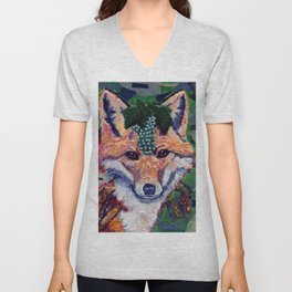 Fox Wearing Jewels Collage Unisex V-Neck