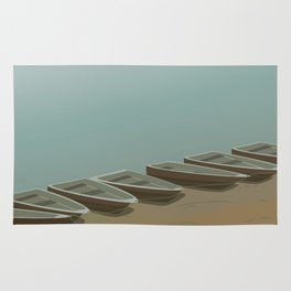 Boats on the shore Rug