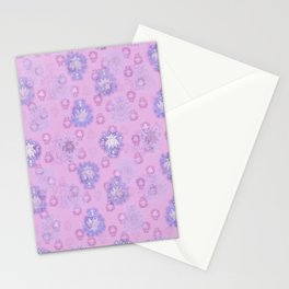 Lotus flower - pink and light blue woodblock print style pattern Stationery Cards