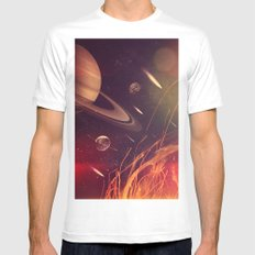Space Fire Mens Fitted Tee MEDIUM White