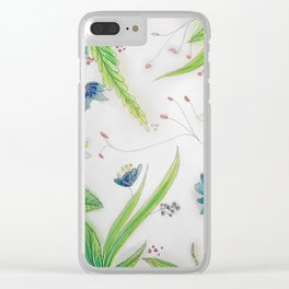 Leaves and flowers Clear iPhone Case