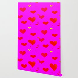 Red and Pink Falling Hearts Wallpaper